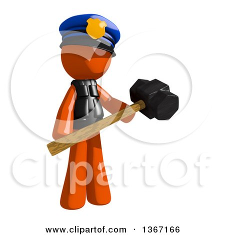 Clipart of an Orange Man Police Officer Holding a Sledgehammer - Royalty Free Illustration by Leo Blanchette