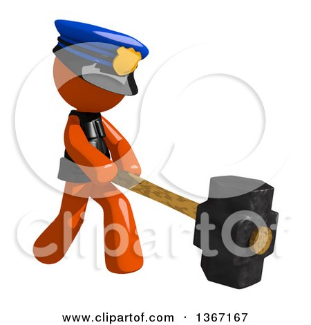 Clipart of an Orange Man Police Officer Swinging a Sledgehammer - Royalty Free Illustration by Leo Blanchette