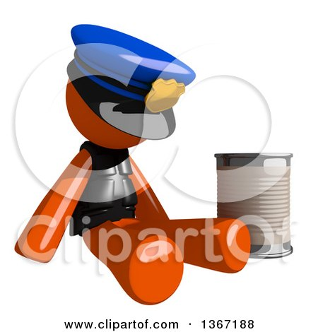 Clipart of an Orange Man Police Officer Begging and Sitting with a Can - Royalty Free Illustration by Leo Blanchette
