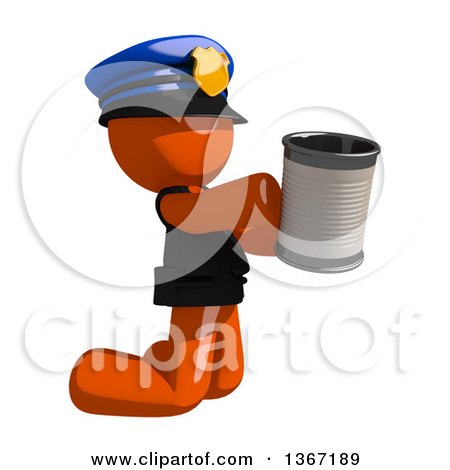 Clipart of an Orange Man Police Officer Begging and Kneeling with a Can - Royalty Free Illustration by Leo Blanchette
