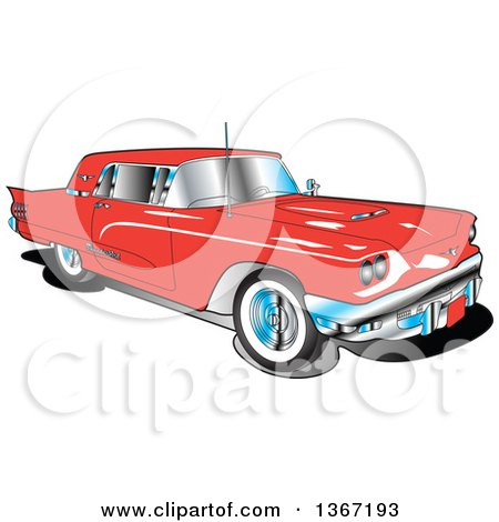 Clipart of a Retro Vintage 1960 Red Ford Thunderbird Car - Royalty Free Vector Illustration by Andy Nortnik