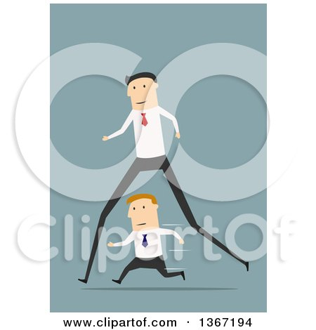 Clipart of a Flat Design Long Legged White Business Man Passing a Short Man, on Blue - Royalty Free Vector Illustration by Vector Tradition SM