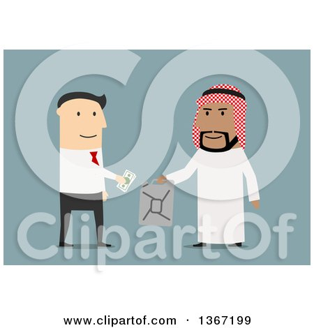 Clipart of a Flat Design White Business Man Buying Oil from an Arabian Man, on Blue - Royalty Free Vector Illustration by Vector Tradition SM