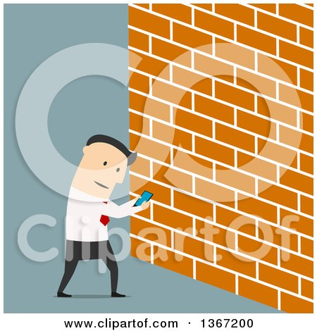 Clipart of a Flat Design White Business Man Looking at Screen of Smartphone and Walking into a Wall, on Blue - Royalty Free Vector Illustration by Vector Tradition SM