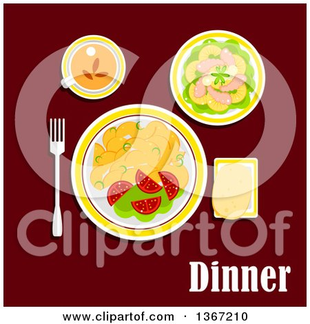 Dinner Served with Fried Potatoes, Fresh Vegetables, Seafood, Pineapple and Lettuce, Wheat Bread and Cup of Black Tea and Text on Red Posters, Art Prints