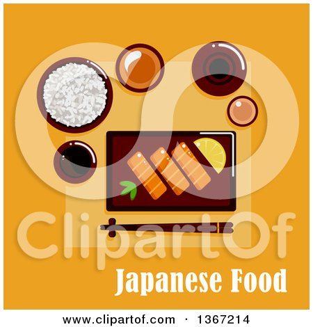 Clipart of a Japanese Dinner with Salmon Sashimi, Served by Lemon and Wasabi Pasta, Wide Bowl with Rice, Dipping Sauces, Ceramic Sake Set and Chopsticks on a Rest with Text on Orange - Royalty Free Vector Illustration by Vector Tradition SM