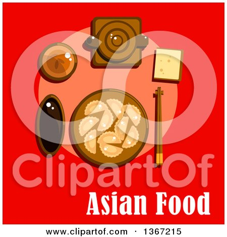 Traditional Asian Chinese Dishes Served on Table with Dumplings, Soy Sauce, Ceramic Teapot, Cup of Tea and Chopsticks on Rest with Text on Red Posters, Art Prints