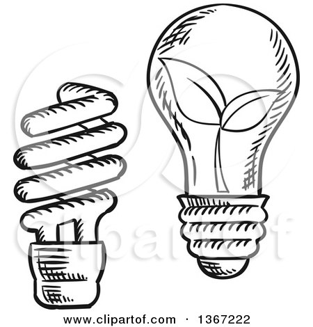 Clipart of Black and White Sketched Spiral and Incandescent Light Bulbs, One with Leaves - Royalty Free Vector Illustration by Vector Tradition SM