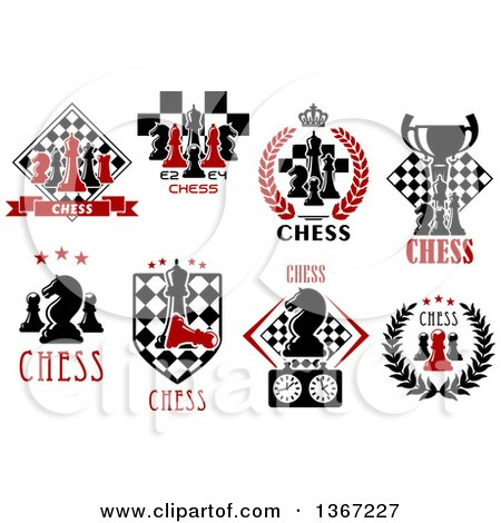 Clipart of Chess Piece Designs and Text - Royalty Free Vector Illustration by Vector Tradition SM