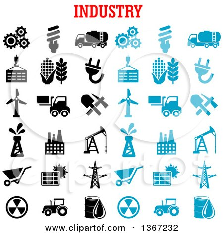 Clipart of a Blue and Black and White Industry Icons - Royalty Free Vector Illustration by Vector Tradition SM