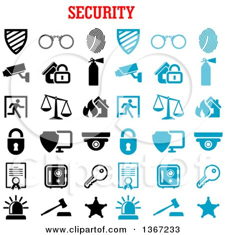 Clipart of a Blue and Black and White Security Icons - Royalty Free Vector Illustration by Vector Tradition SM