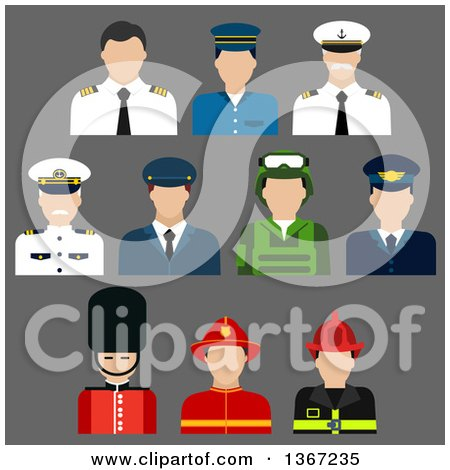 Clipart of Flat Design Faceless Firefighter, Soldier, Pilot, Security, and Captain Avatars on Gray - Royalty Free Vector Illustration by Vector Tradition SM