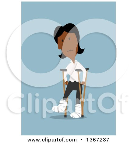 Clipart of a Flat Design Injured Black Business Woman Walking with Crutches and Casts, on Blue - Royalty Free Vector Illustration by Vector Tradition SM