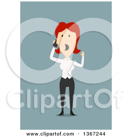 Clipart of a Flat Design White Business Woman Screaming into a Cell Phone, on Blue - Royalty Free Vector Illustration by Vector Tradition SM