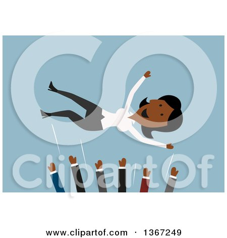Clipart of a Flat Design Happy Black Business Woman Being Tossed in a Mosh Pit of Colleagues, on Blue - Royalty Free Vector Illustration by Vector Tradition SM