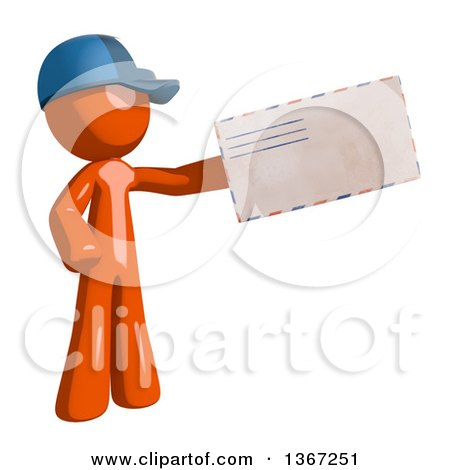 Clipart of an Orange Mail Man Wearing a Baseball Cap, Holding an Envelope - Royalty Free Illustration by Leo Blanchette