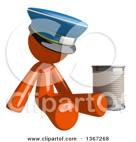 Clipart of an Orange Mail Man Wearing a Hat, Begging and Sitting with a Can - Royalty Free Illustration by Leo Blanchette