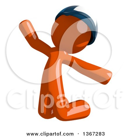 Clipart of an Orange Mail Man Wearing a Baseball Cap, Jumping or Kneeling and Begging - Royalty Free Illustration by Leo Blanchette
