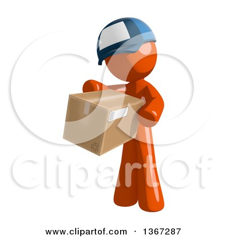 Clipart of an Orange Mail Man Wearing a Baseball Cap, Holding a Box - Royalty Free Illustration by Leo Blanchette