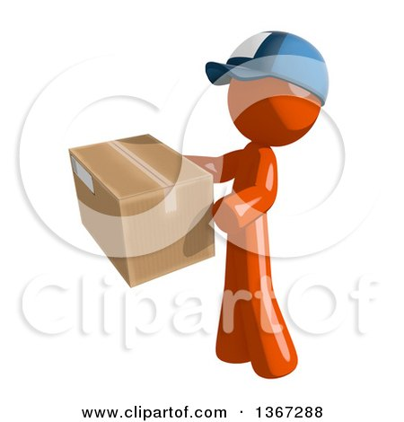 Clipart of an Orange Mail Man Wearing a Baseball Cap, Holding a Box, Facing Left - Royalty Free Illustration by Leo Blanchette