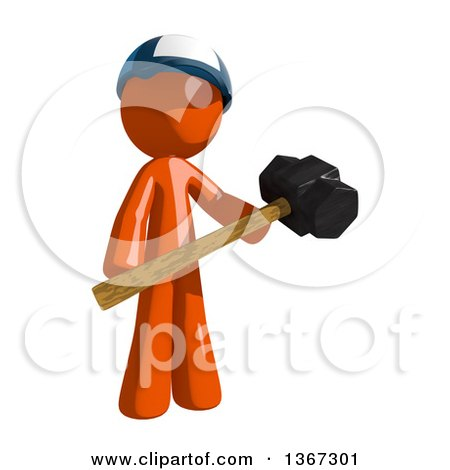 Clipart of an Orange Mail Man Wearing a Baseball Cap, Holding a Sledgehammer - Royalty Free Illustration by Leo Blanchette