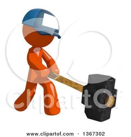 Clipart of an Orange Mail Man Wearing a Baseball Cap, Swinging a Sledgehammer - Royalty Free Illustration by Leo Blanchette