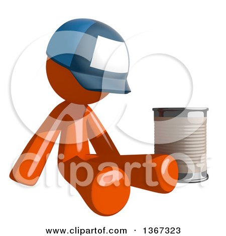 Clipart of an Orange Mail Man Wearing a Baseball Cap, Begging and Sitting with a Can - Royalty Free Illustration by Leo Blanchette