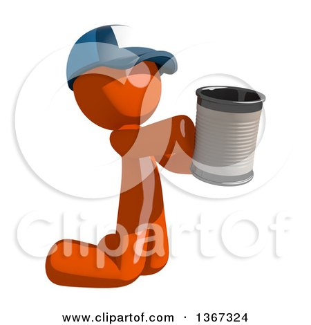 Clipart of an Orange Mail Man Wearing a Baseball Cap, Begging and Kneeling with a Can - Royalty Free Illustration by Leo Blanchette