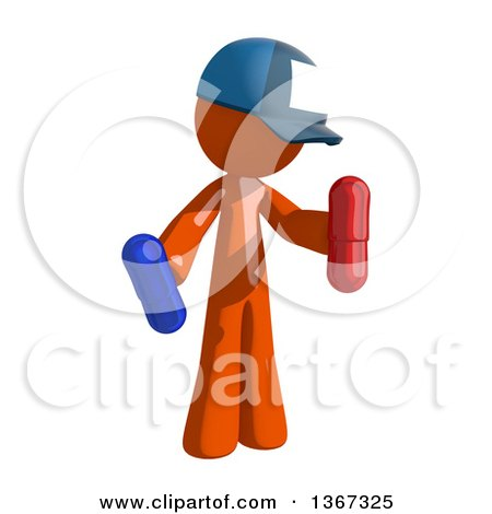 Clipart of an Orange Mail Man Wearing a Baseball Cap, Holding Pills - Royalty Free Illustration by Leo Blanchette