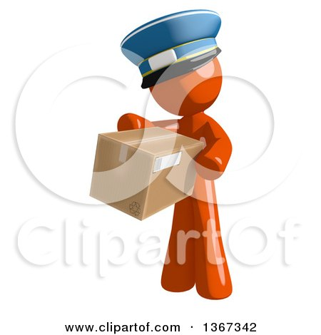 Clipart of an Orange Mail Man Wearing a Hat, Holding a Box - Royalty Free Illustration by Leo Blanchette