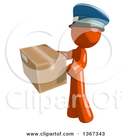 Clipart of an Orange Mail Man Wearing a Hat, Holding a Box, Facing Left - Royalty Free Illustration by Leo Blanchette