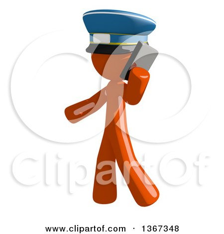 Clipart of an Orange Mail Man Wearing a Hat, Talking on a Smart Phone - Royalty Free Illustration by Leo Blanchette