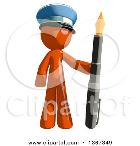 Clipart of an Orange Mail Man Wearing a Hat, Holding a Fountain Pen - Royalty Free Illustration by Leo Blanchette