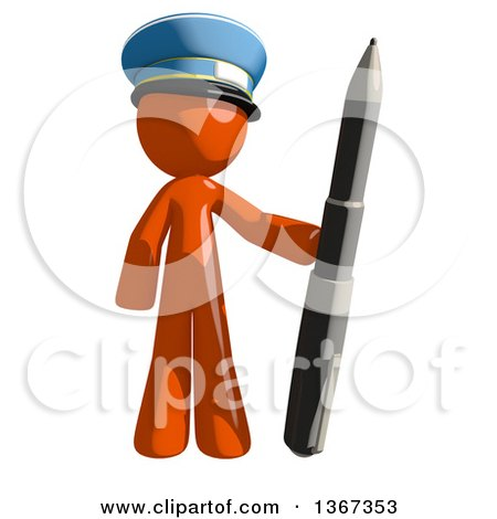 Clipart of an Orange Mail Man Wearing a Hat, Holding a Pen - Royalty Free Illustration by Leo Blanchette