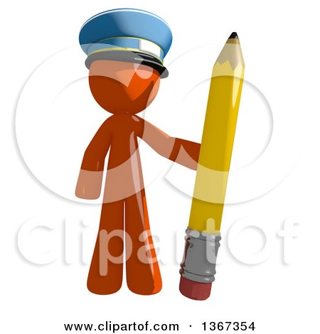Clipart of an Orange Mail Man Wearing a Hat, Holding a Pencil - Royalty Free Illustration by Leo Blanchette