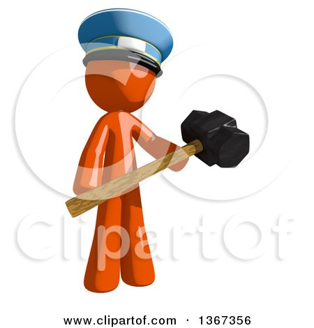 Clipart of an Orange Mail Man Wearing a Hat, Holding a Sledgehammer - Royalty Free Illustration by Leo Blanchette