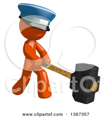 Clipart of an Orange Mail Man Wearing a Hat, Swinging a Sledgehammer - Royalty Free Illustration by Leo Blanchette