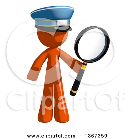 Clipart of an Orange Mail Man Wearing a Hat Searching with a Magnifying Glass - Royalty Free Illustration by Leo Blanchette