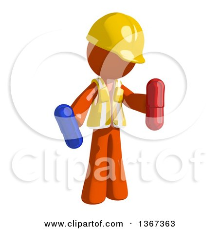 Clipart of an Orange Man Construction Worker Holding Pills - Royalty Free Illustration by Leo Blanchette