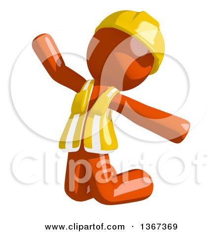 Clipart of an Orange Man Construction Worker Jumping or Kneeling and Begging - Royalty Free Illustration by Leo Blanchette