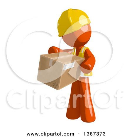 Clipart of an Orange Man Construction Worker Holding a Box - Royalty Free Illustration by Leo Blanchette