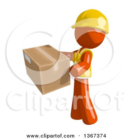 Clipart of an Orange Man Construction Worker Holding a Box, Facing Left - Royalty Free Illustration by Leo Blanchette
