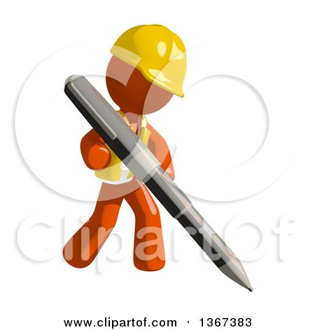 Clipart of an Orange Man Construction Worker Writing with a Pen - Royalty Free Illustration by Leo Blanchette