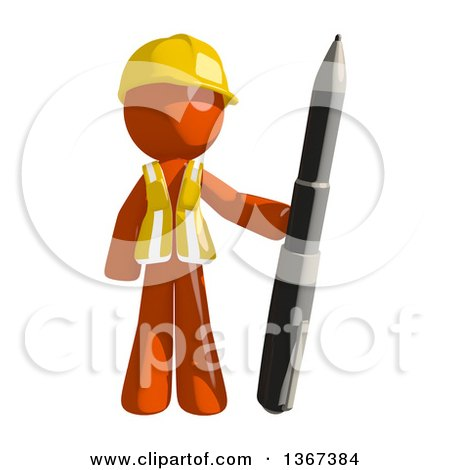 Clipart of an Orange Man Construction Worker Standing with a Pen - Royalty Free Illustration by Leo Blanchette