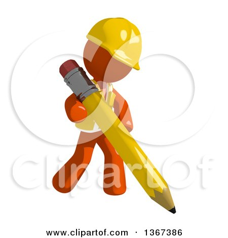 Clipart of an Orange Man Construction Worker Writing with a Pencil - Royalty Free Illustration by Leo Blanchette