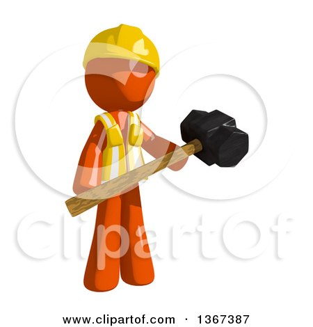 Clipart of an Orange Man Construction Worker Holding a Sledgehammer - Royalty Free Illustration by Leo Blanchette