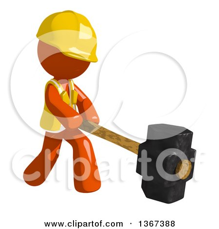 Clipart of an Orange Man Construction Worker Swinging a Sledgehammer - Royalty Free Illustration by Leo Blanchette