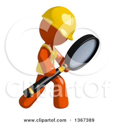 Clipart of an Orange Man Construction Worker Using a Magnifying Glass - Royalty Free Illustration by Leo Blanchette