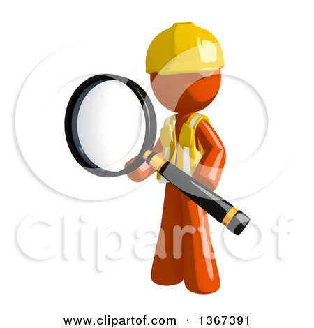 Clipart of an Orange Man Construction Worker Holding a Magnifying Glass - Royalty Free Illustration by Leo Blanchette