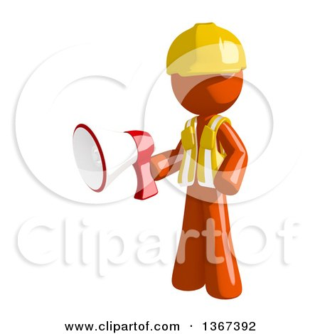 Clipart of an Orange Man Construction Worker Holding a Megaphone - Royalty Free Illustration by Leo Blanchette